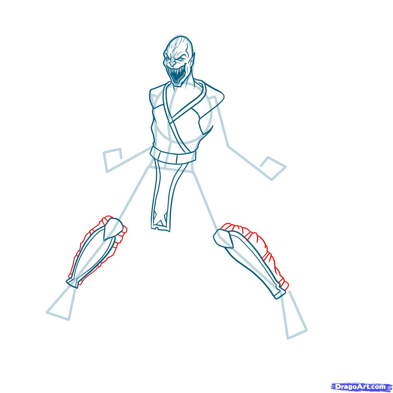 How to draw the Scorpion to the utmost from Mortal Kombat with a pencil step by step 10