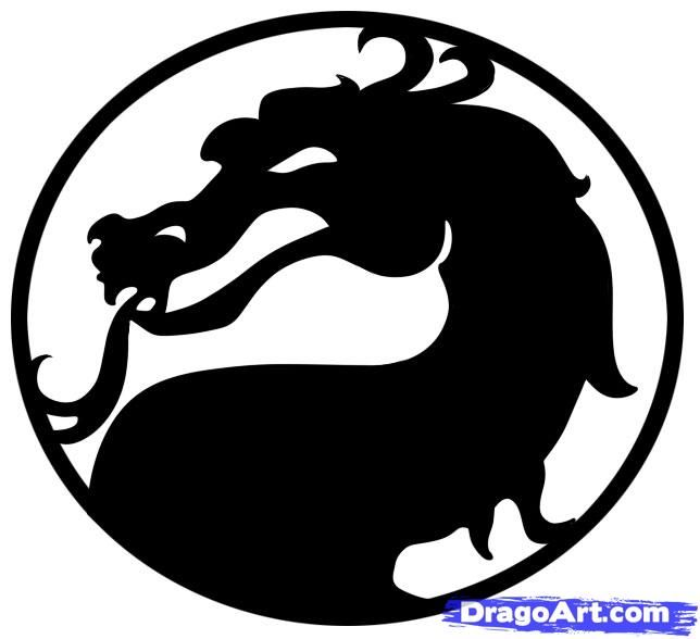 How to draw the Mortal Kombat logo with a pencil step by step