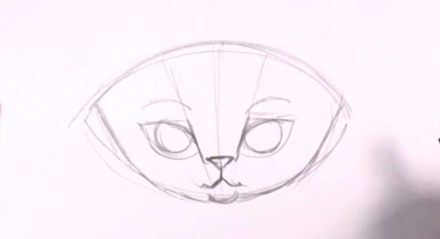 How to draw a kitten on a tree with a pencil step by step 5