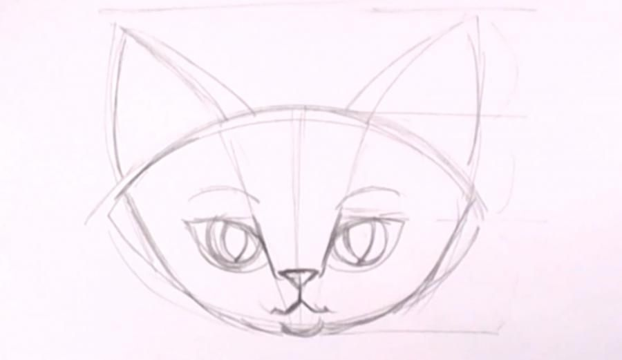 How to draw a kitten on a tree with a pencil step by step 7