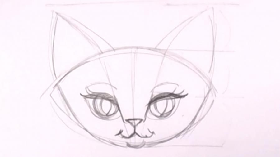 How to draw a kitten on a tree with a pencil step by step 8