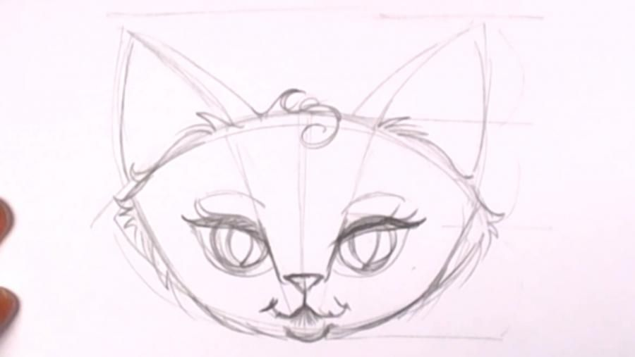 How to draw a kitten on a tree with a pencil step by step 9