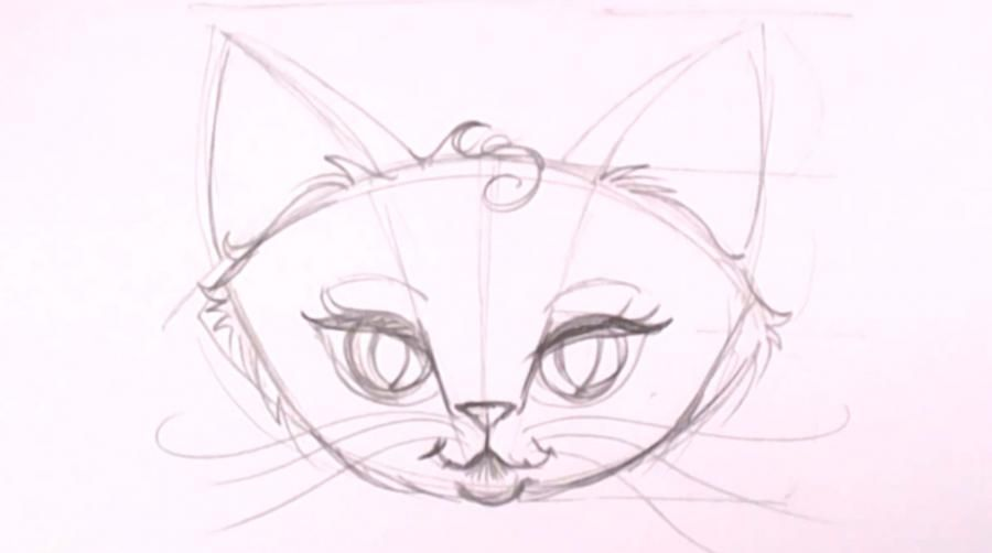How to draw a kitten on a tree with a pencil step by step 10