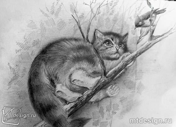How to draw a kitten on a tree with a pencil step by step
