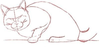How to draw a cat in the movement with a pencil step by step 5
