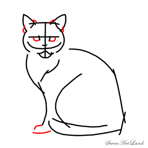 How to draw a Siamese cat step by step 5