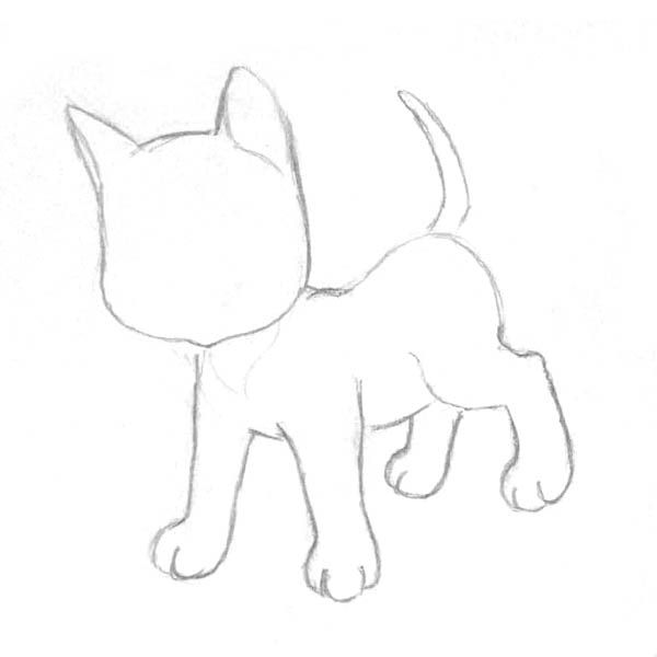 How to draw the Lying Kitten with a pencil step by step 2