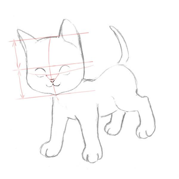 How to draw the Lying Kitten with a pencil step by step 3