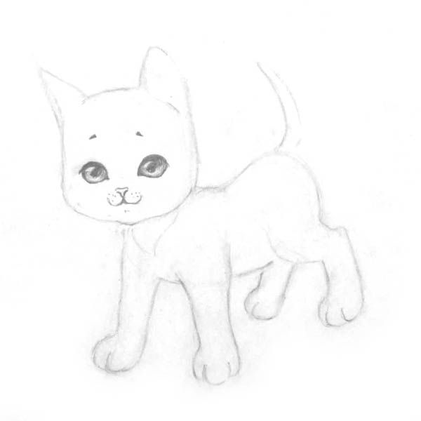 How to draw the Lying Kitten with a pencil step by step 5