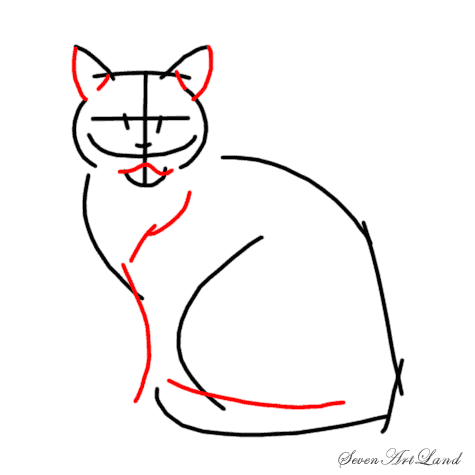 How to draw a Siamese cat step by step 4