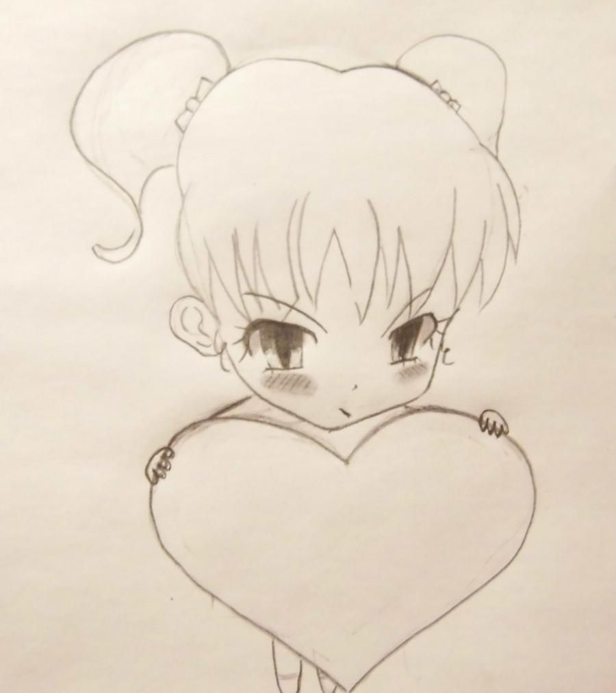 How to draw hearts with a pencil step by step 3