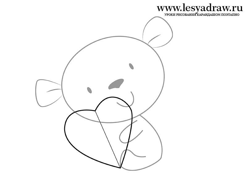 How to draw a bear cub by St. Valentine's Day with a pencil step by step 4