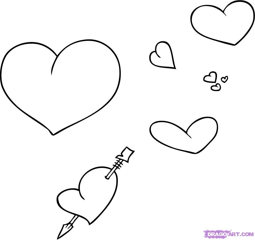 How to draw hearts with a pencil step by step