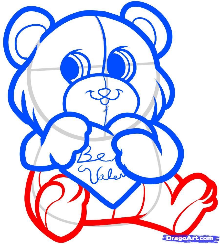 How To Draw A Bear Cub By St Valentine S Day With A Pencil Step By Step