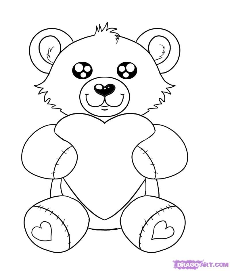 How to draw a teddy bear with heart a pencil step by step
