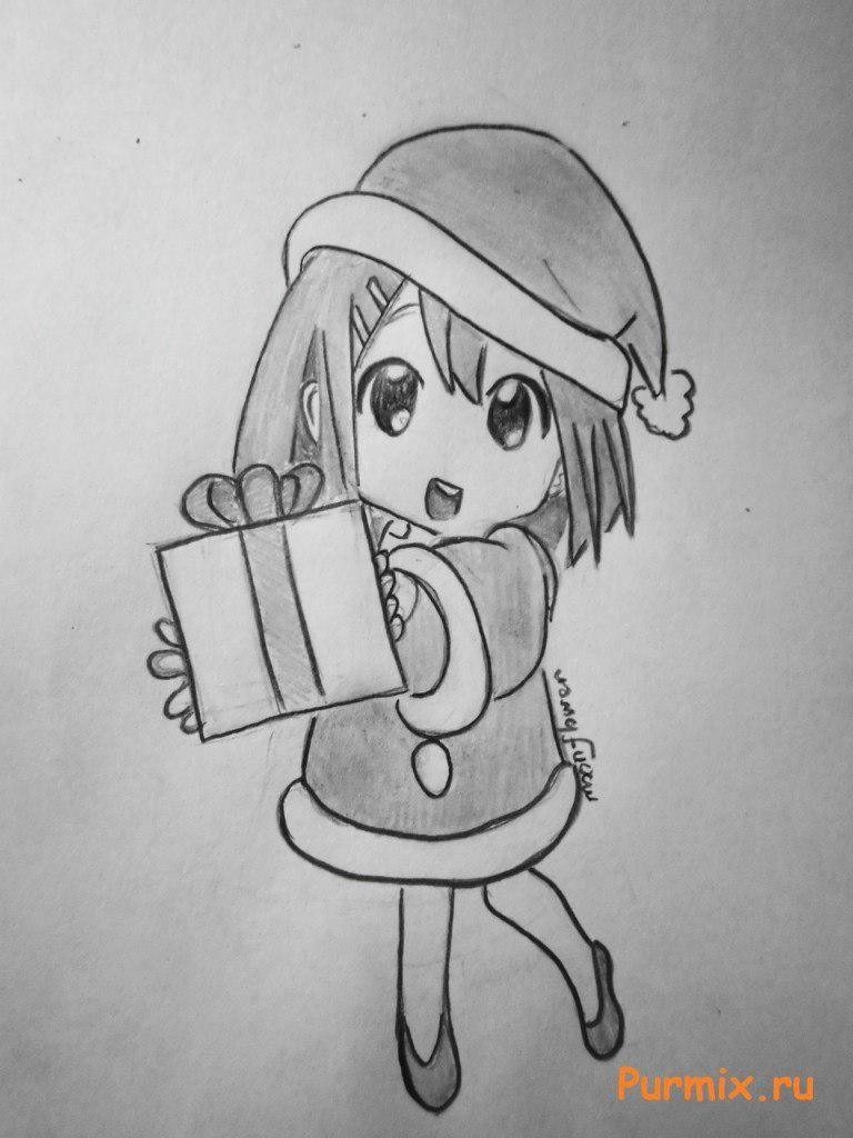How to draw an anime the girl with a gift in hands a simple pencil