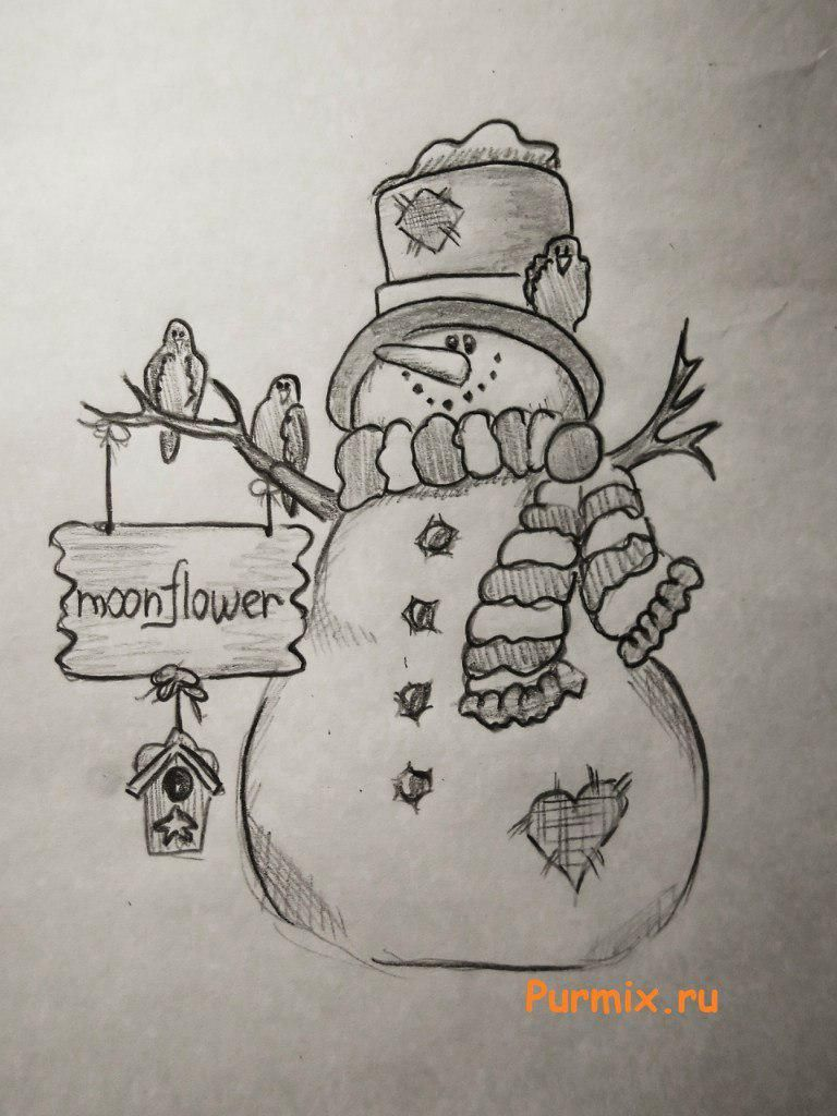 How to draw a snowman for New Year with a simple pencil