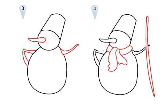 How to draw heart with Santa Claus's cap a pencil 2