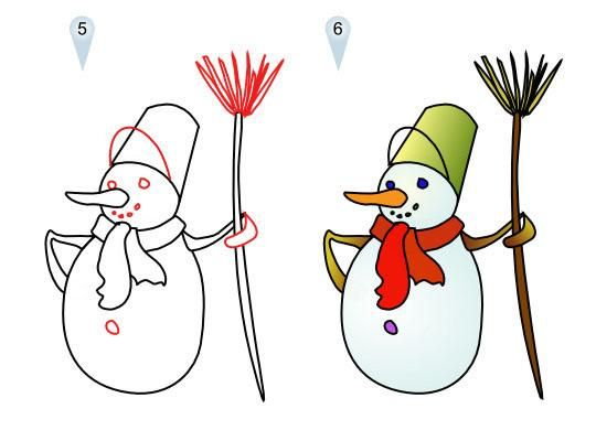 As it is simple to draw a snowman with a pencil step by step
