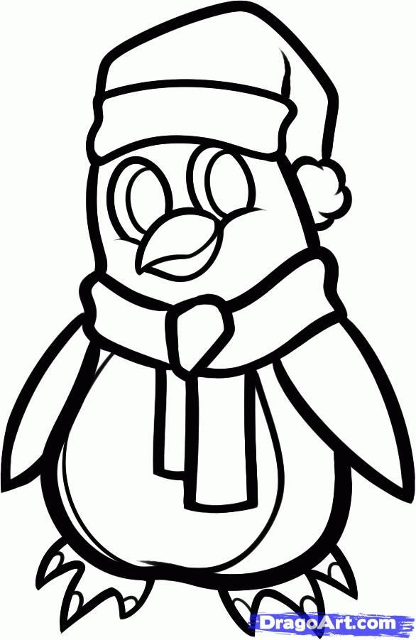 How to draw a New Year's penguin with a pencil