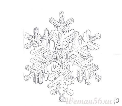 How to draw a beautiful snowflake with a pencil step by step