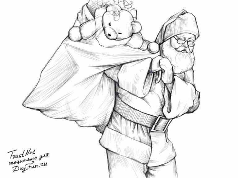 How to draw Father Frost with a bag of gifts step by step
