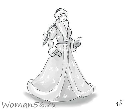 How to draw the Snow Maiden with a pencil step by step