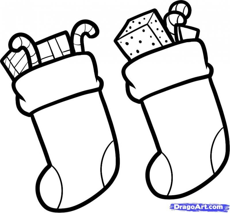 How to draw Christmas socks for gifts a pencil