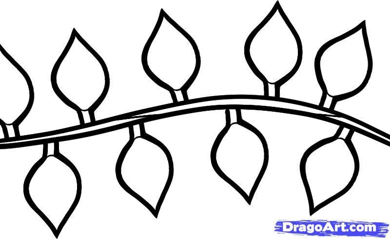 As it is simple to draw a Christmas garland with a pencil