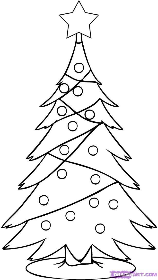 How to draw the Fir-tree with toys a pencil step by step