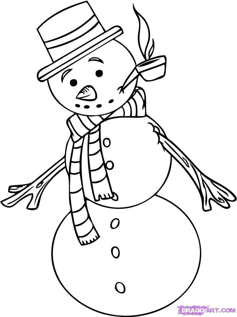 How to draw a snowman with a pencil step by step