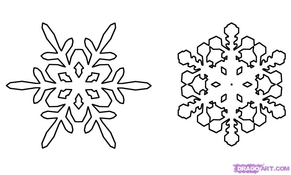 How to draw snowflakes with a pencil step by step