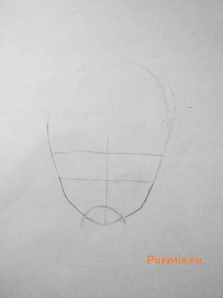 How to draw a skeleton on a Halloween with a pencil step by step 2
