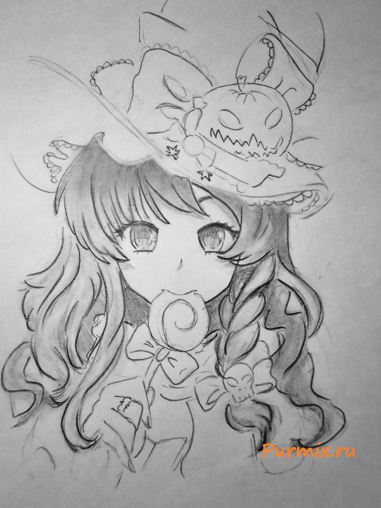How to draw an anime a vedmochka on a Halloween with a