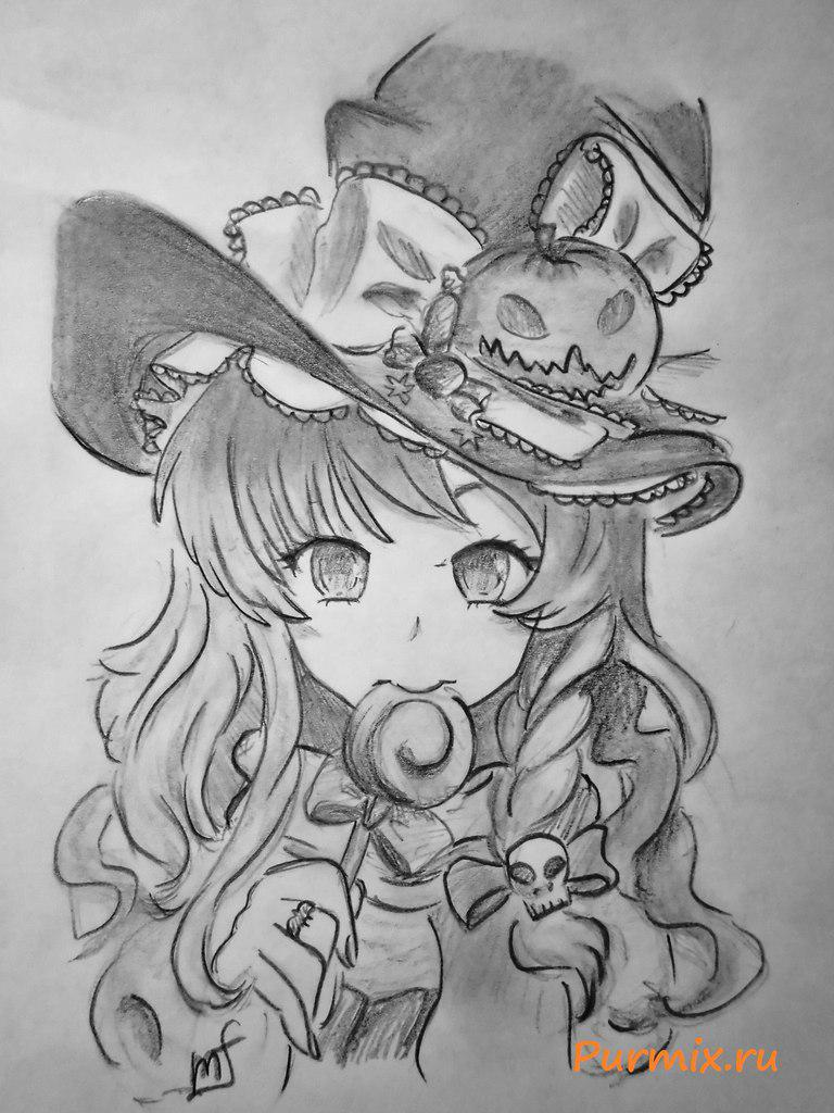 How to draw an anime a vedmochka on a Halloween with a simple pencil