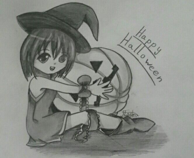 How to draw chib the girl with pumpkin on a Halloween a pencil