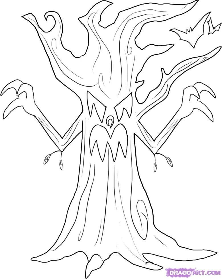 How to draw an evil tree on the Halloween with a pencil