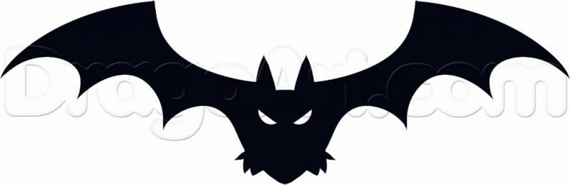 How to draw a bat on a Halloween step by step