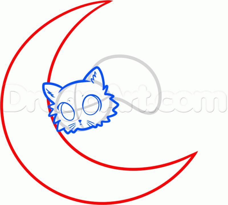 How to draw the moon on the Halloween with a pencil step by step 5