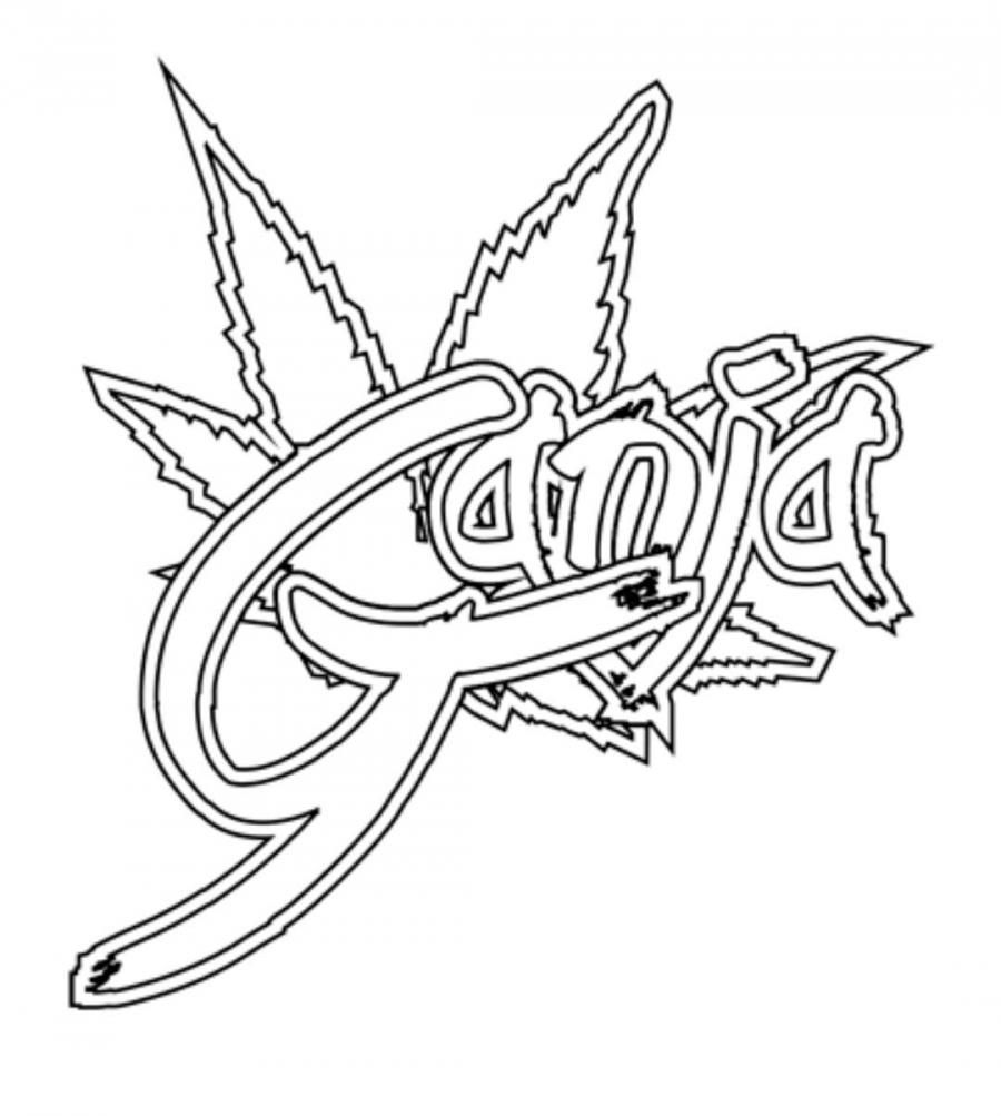 How to draw the word ganja on paper with a pencil