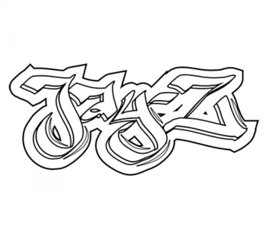 How to draw the name Jay-Z in style of graffiti with a pencil step by step