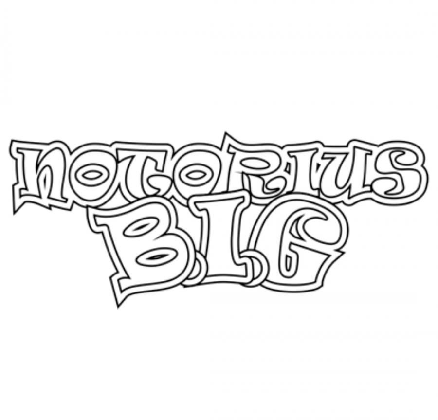 How to draw the word Notorious B.I.G. a pencil on paper step by step