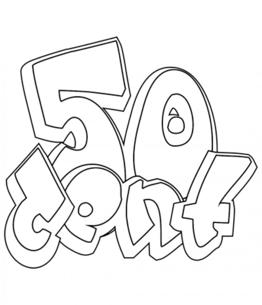 How to draw 50 Cent in style of graffiti with a pencil step by step