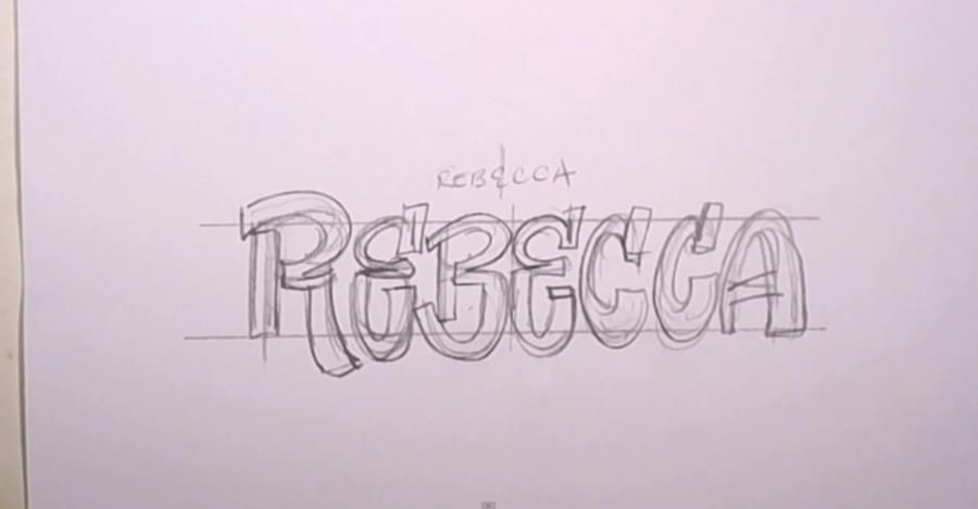 How to draw the word Avrilisa with a pencil step by step 2
