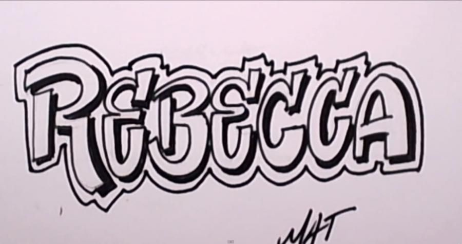 How to draw the word Rebecca on paper with a pencil step by step