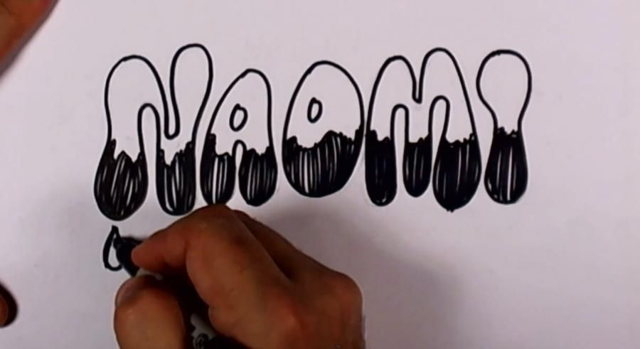 How to draw the word Fadli on paper with a pencil step by step 5
