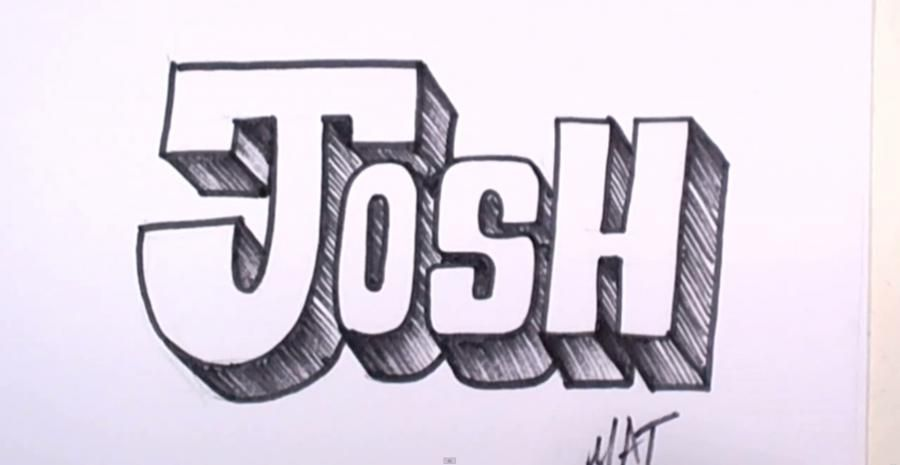 How to draw the word Josh on paper with a pencil step by step
