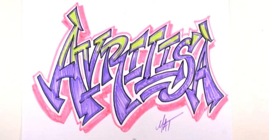 How to draw the word Avrilisa with a pencil step by step