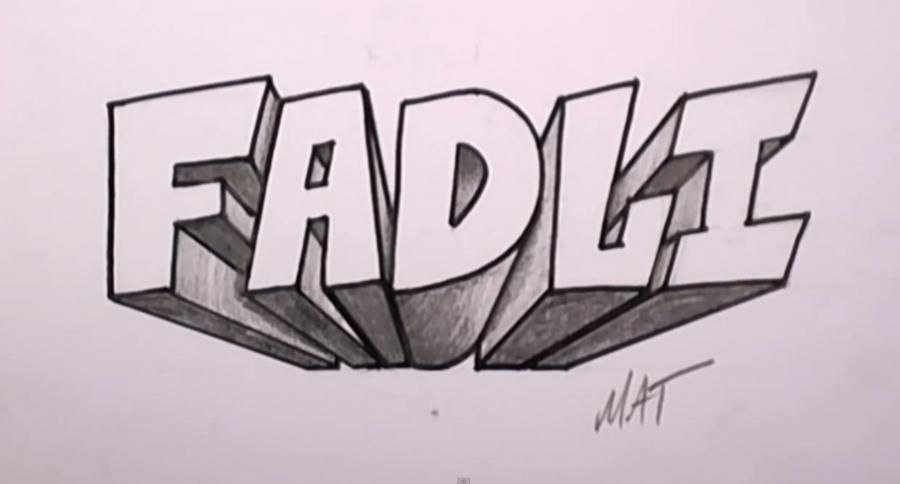 How to draw the word Fadli on paper with a pencil step by step