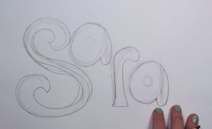 How to draw the word Love in a 3D pencil step by step 2